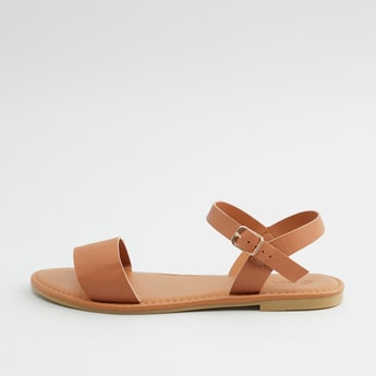 Textured Flat Sandals with Pin Buckle Closure