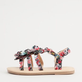 Strappy Floral Print Sandals with Hook and Loop Closure