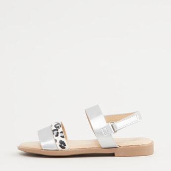 Open Toe Flat Sandals with Animal Print Design