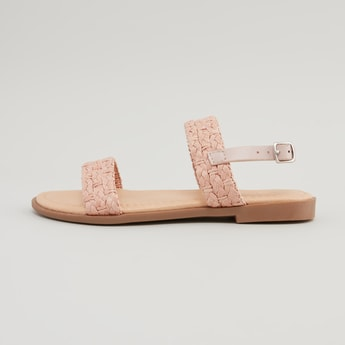 Textured Sandals with Stacked Heels and Pin Buckle Closure