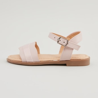 Applique Detail Sandals with Stacked Heels and Pin Buckle Closure