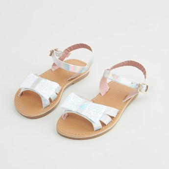 Applique Detail Ankle Strap Sandals with Hook and Loop Closure
