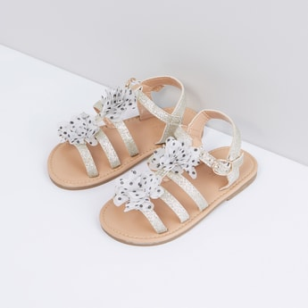 Flower Applique Detail Multi-Strap Sandals