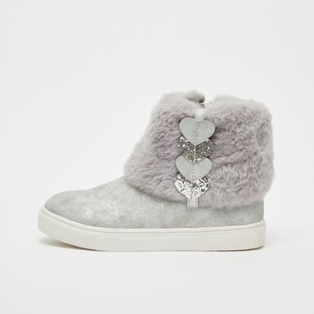 Faux Fur Boots with Zip Closure