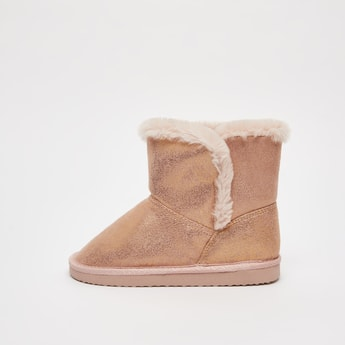 Glitter Accent Ugg Boots with Plush Detail
