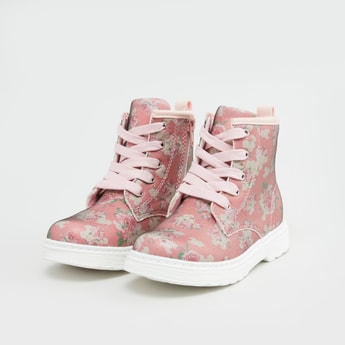 حذاء طويل بطبعات أزهار مع سحّاب ورباط لإحكام الغلق