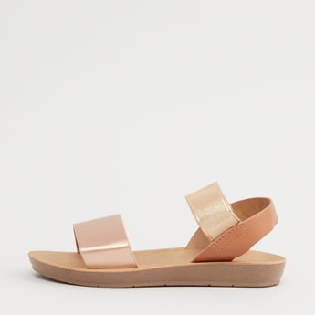 Textured Dual Strap Sandals with Slingback