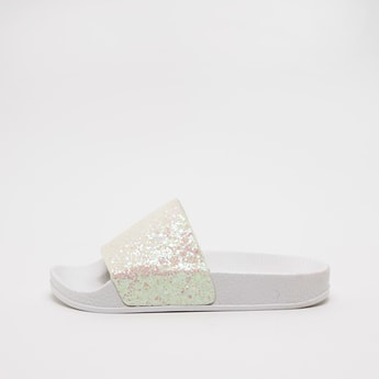 Textured Slides with Glitter Accent Vamp Band