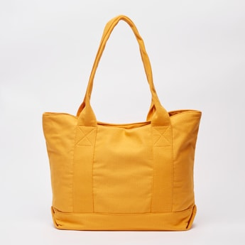 Textured Shopper Bag with Twin Handles and Magnetic Snap Closure