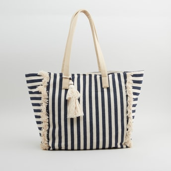 Striped Tote Bag with Tassel Detail and Zip Closure