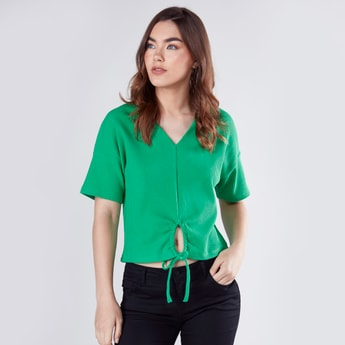 Textured T-shirt with V-neck and Tie-Up Detail