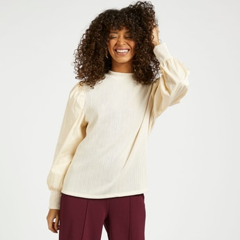 Textured Poplin High Neck Top with Long Sleeves