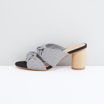 Striped Knot Detail Slides with Block Heels