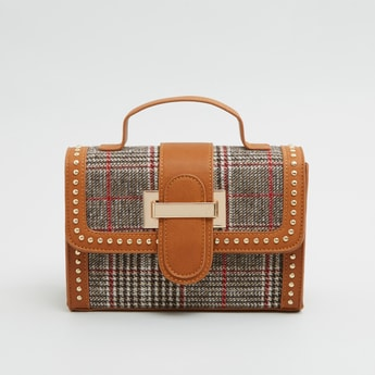 Chequered Satchel Bag with Detachable Strap