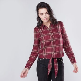 Chequered Shirt with Long Sleeves and Knot Detail