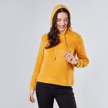 Textured Pullover with Long Sleeves and Hood
