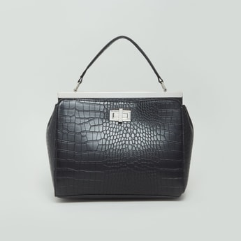 حقيبة يد بارزة الملمس مع حزام قابل للفصل