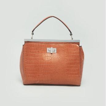 Textured Handbag with Detachable Strap