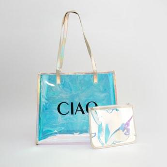 Printed Handbag with Zip Closure