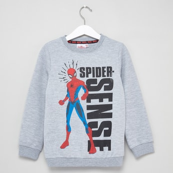 Spider-Man Print Sweatshirt with Round Neck and Long Sleeves