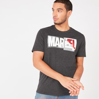 Marvel Logo Flip Print T-shirt with Short Sleeves