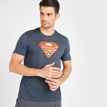 Superman Print T-shirt with Short Sleeves