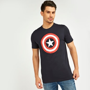 Captain America Print T-shirt with Short Sleeves