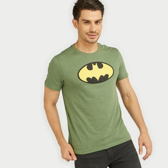 Batman Logo Print T-shirt with Short Sleeves