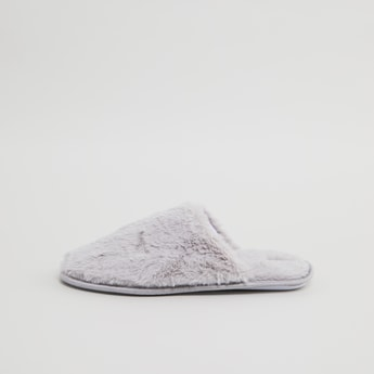 Embroidered Plush Bedroom Slippers