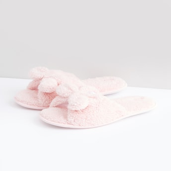 Plush Bedroom Slides with Bow Detail
