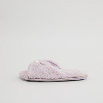 Embellished Plush Bedroom Slippers