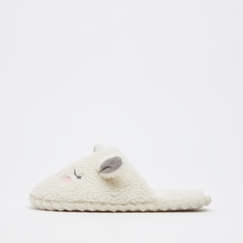 Textured Bedroom Slides with Applique Detail