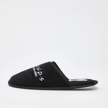 Friends Embroidered Slip On Bedroom Slippers