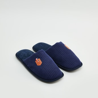 Textured Slippers with Applique Detail