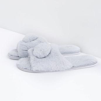حذاء خفيف قطيفة لغرفة نوم مزيّن بكرات بوم بوم