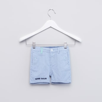 Striped Shorts with Pocket Detail and Belt Loops