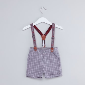 Chequered Shorts with Printed Suspenders