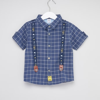 Grid Check Suspender Shirt with Collar and Short Sleeves