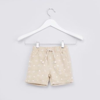 Printed Shorts with Pocket Detail and Drawstring Closure