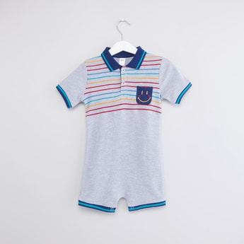 Striped Detail Romper with Polo Neck and Short Sleeves