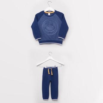 Happy Emoji Embossed Round Neck Sweatshirt and Jogger Pants Set