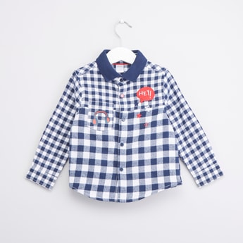 Rebel Mixed Checked Shirt with Long Sleeves