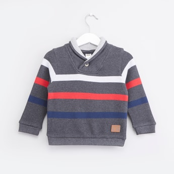 Striped Sweatshirt with Shawl Collar and Long Sleeves