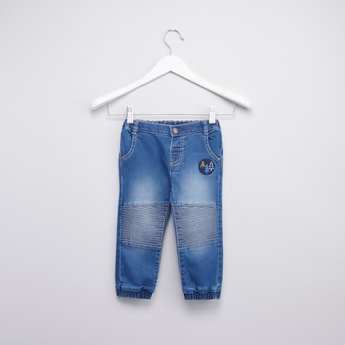 Stitch Detail Denim Jog Pants with Pockets