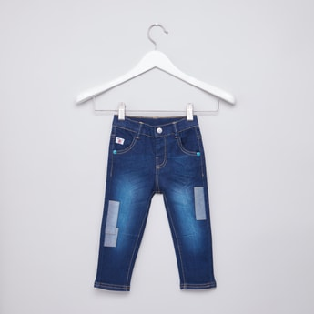 Full Length Patch Jeans with Pocket Detail and Belt Loops