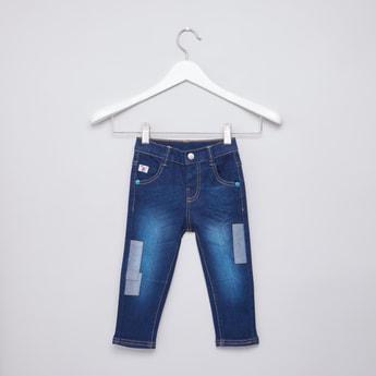 بنطلون جينز طويل بجيوب وحلقات للحزام