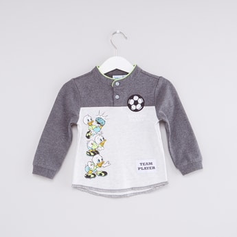 Duck Tales Printed Henley Neck Long Sleeves T-Shirt