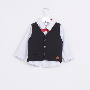 Pocket Detail Waistcoat with Long Sleeves Shirt