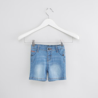 Tape Detail 5-Pocket Denim Shorts with Button Closure
