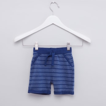 Striped Pocket Detail Shorts with Drawstring